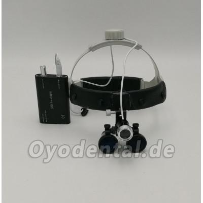 Dental Surgical Binocular 3.5X420mm Leder Stirnband Lupe + LED Scheinwerfer DY-108