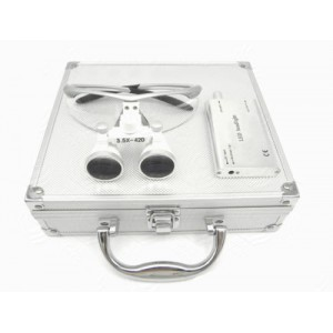 Dental Surgical 3.5X420mm Binokularlupen + LED Scheinwerfer + Aluminium Box Silber