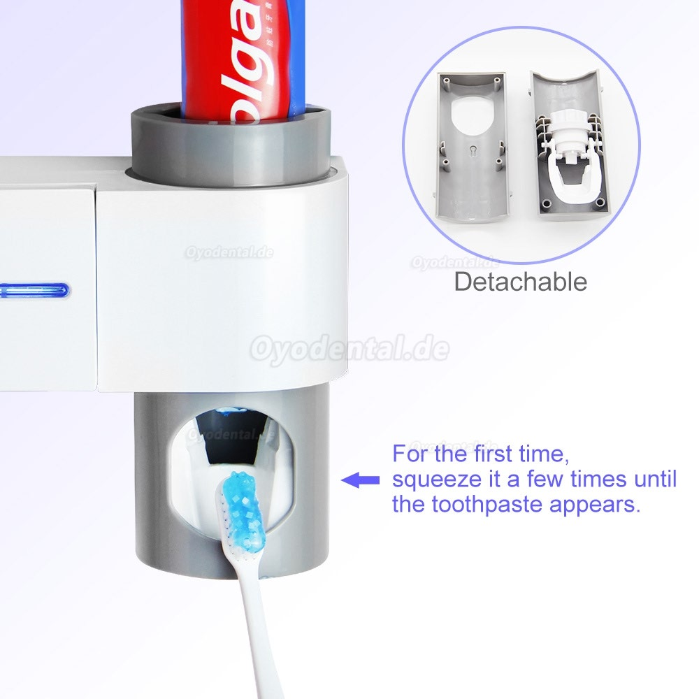 2 in 1 Toothbrush UV Sterilizer Light Automatic Toothpaste Dispenser Toothbrush Holder